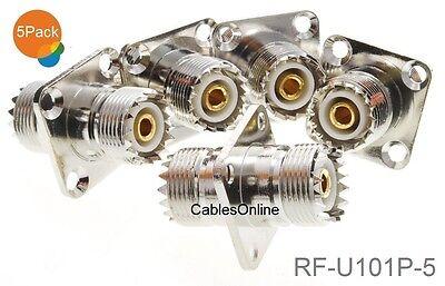 RF-U101P-5 5-Pack UHF SO239 Female to Female 4-Hole Panel Mount Coupler