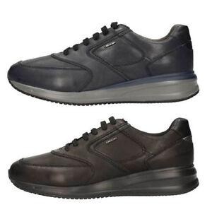 GEOX DENNIE U740GA NAVY BLACK scarpe uomo sneakers pelle interactive ... 6be45d6ad1e