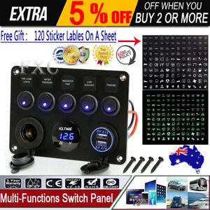 Details about Inline Fuse Box LED Rocker Switch Panel Voltmeter USB on