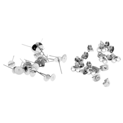 30 Pairs Hypoallergenic Stainless Steel Earrings Stud Pin DIY Back Post Pad