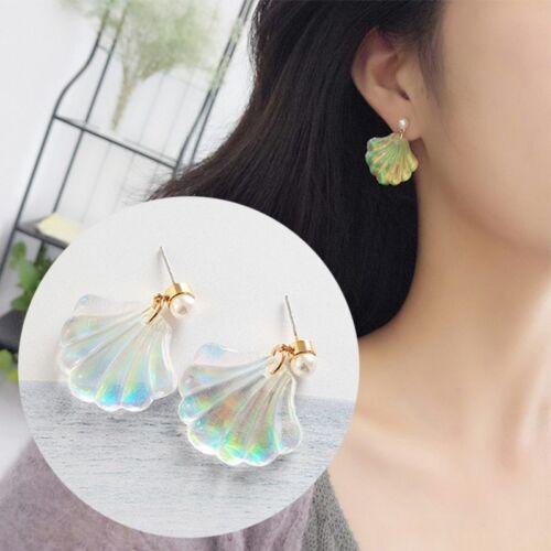Small Shell Earrings Dangle Reflecting Clear Colorful Drop Rainbow Mermaid Pearl