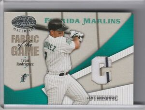 8b12e7ed0 ... Florida Marlins Home Jersey With 10th Anniversary Patch. Hover to Image  is loading 2004-LEAF-CERTIFIED-FG167-IVAN-RODRIGUEZ-JERSEY ...