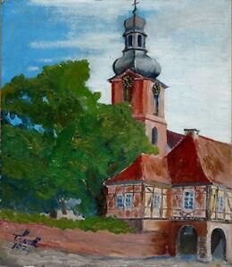 Gemaelde-Bild-Kunstwerk-Kirche-Dorfkirche-sign-034-Tuerk-039-74-034-Sammlerstueck-Unikat