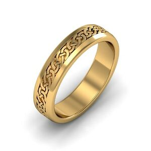 10k Gold Irish Handcrafted Celtic Design Anniversary Wedding Band Ring 6mm wide