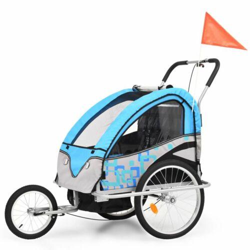 vidaXL 2-in-1 Kids/' Bicycle Trailer /& Stroller Children Jogger Multi Colours