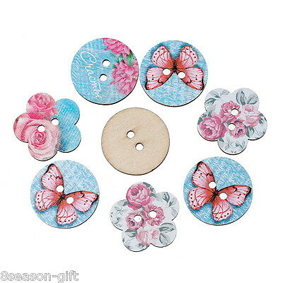50PCs Wooden Buttons Butterfly Flower Style Blue 2-hole Sewing Scrapbook DIY