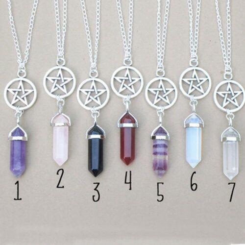 Natural Crystal Pentagram Pendant Columns Jewelry Necklace