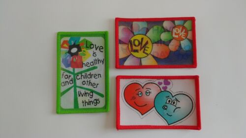 Set of 3 Inspirational Flower Love Heart Lenticular Iron-On Patches