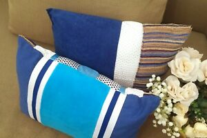 TWO Decorative Pillows Upcycled Blue-White Funky Comfy HANDMADE Sporty Home Deco