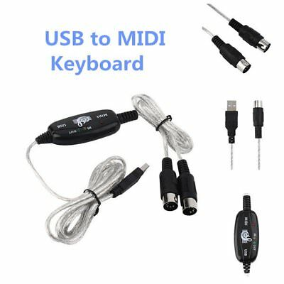 USB IN-OUT MIDI Interface Cable Converter PC to Music Keyboard Adapter Cord ZF