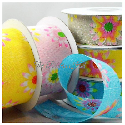 "1/"" Flower Printed Burlap Ribbon-25mm 1 1//2/"" 38mm -Per Metre-Spring Colours"