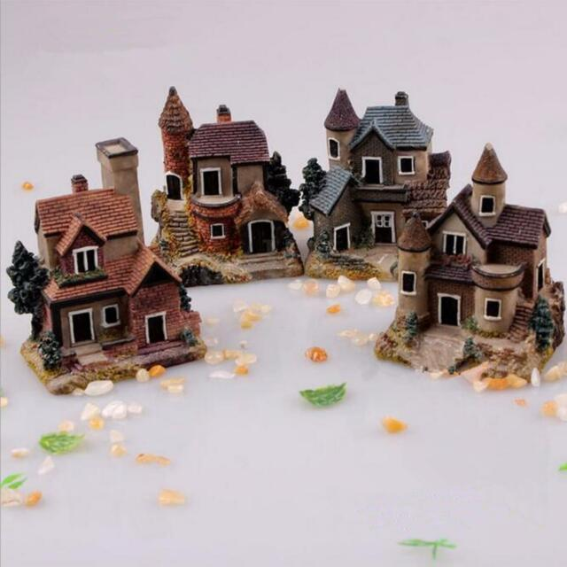 Mini Fairy Garden Miniature Resin Thatched House Micro Landscape Ornament Decor