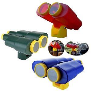Fernglas-Fernrohr-Spielzeug-Stelzenhaus-Baumhaus-Spielturm-Kletterturm-gruen-rot