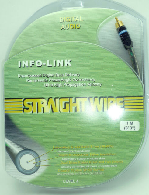 Straightwire MEGA-LINK II RCA Silver Coaxial Digital Audio Cable 1 Meter NEW