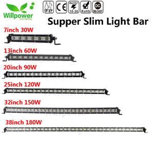 7/13/20/25/32/38 inch Single Row Slim LED Work Light Bar for Car Off road Truck
