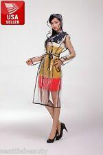Beautiful EVA Vinyl Women's Transparent Raincoat Waterproof Runway with Belt