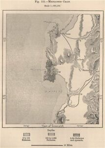 Antofagasta Mejillones Chile 1885 old antique vintage map plan