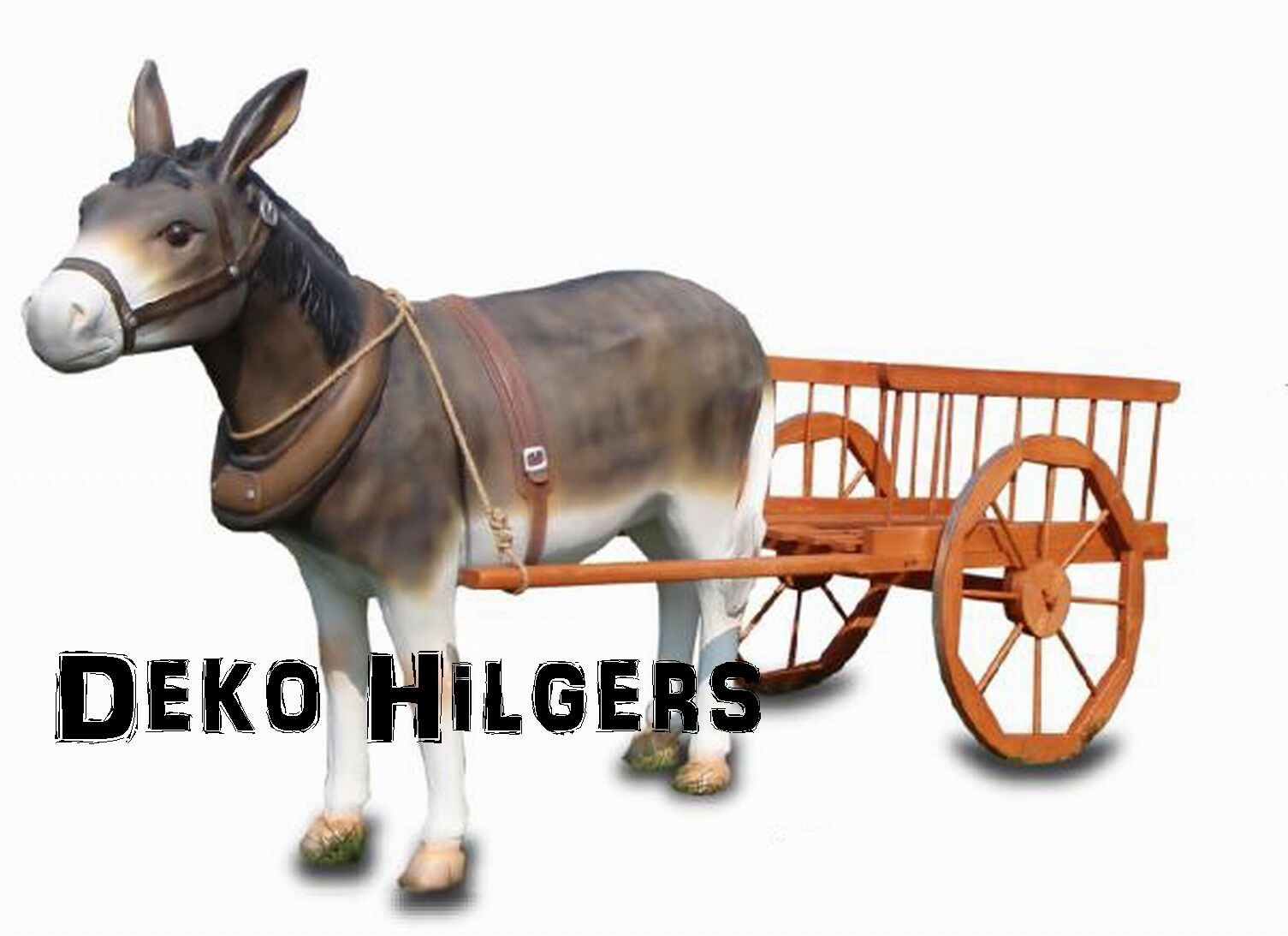 Esel Mit Wagen Figur Groß Lebensgroß Heu Gartenfigur Garten Deko Bauernhof 4