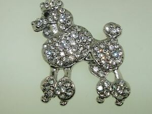 VINTAGE-1960-039-S-FOILED-RHINESTONE-CURLY-POODLE-PIN