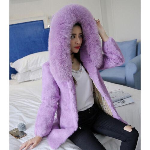 Women Gifts Full Pelt Real Vulpes Fox Fur Collar Rabbit Fur Coat Hooded Overcoat