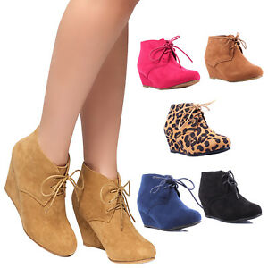 7d77f5a6f32 Women s Faux Suede High Wedge Heel Ankle Booties Lace up Almond Toe ...