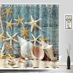 Seashell-Beach-Shower-Curtain-Teal-Wooden-Dock-Shell-Conch-Fish-Net-Bath-Decor