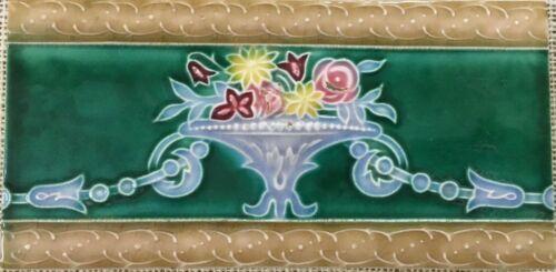 Antique art nouveau vintage majolica border tile Japan c1900 6 INCH X 3 INCH
