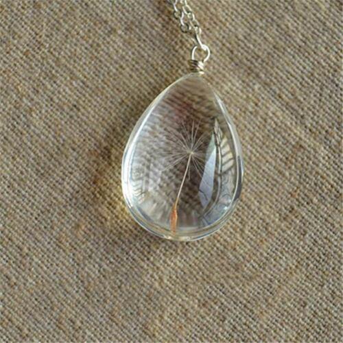 DANDELION SEEDS en verre pendentif collier Long Larme souhaite verre Femmes Cadeau