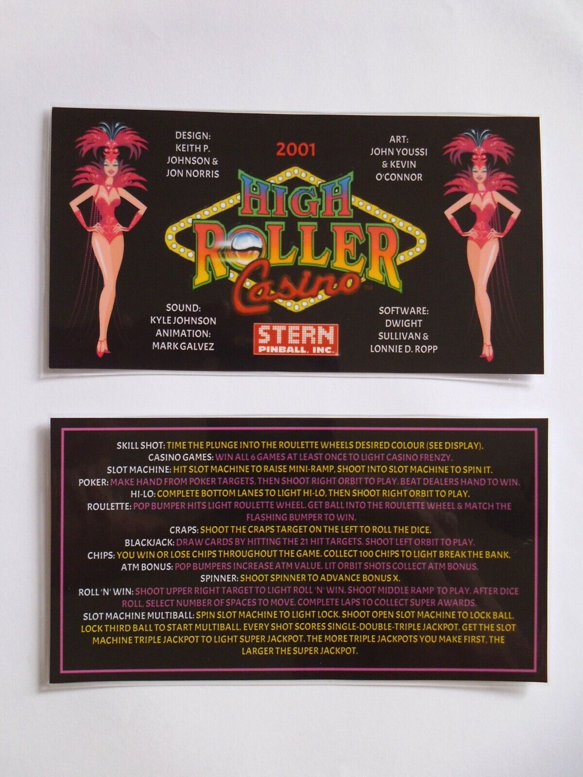 * * 'HIGH ROLLER CASINO' Stern 2001 Custom Instruction/Apron Cards * * (New)