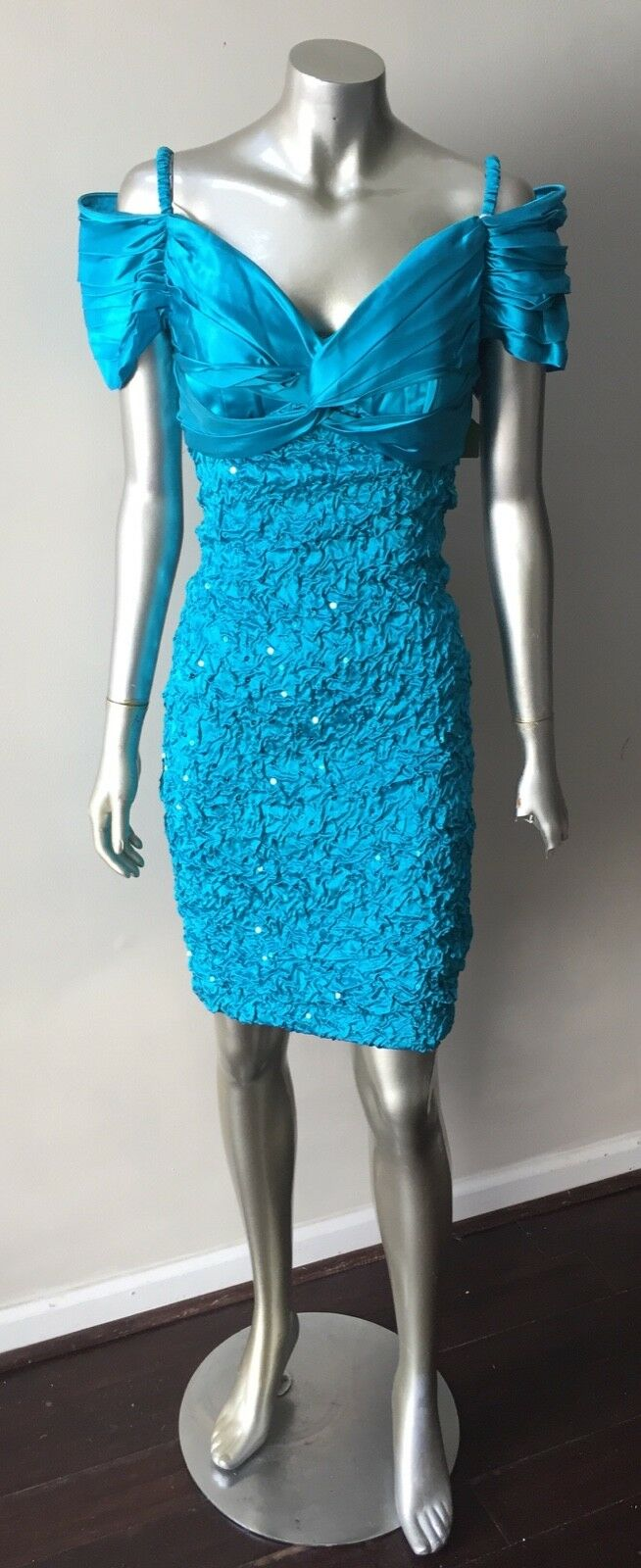 NWT Ruche Embellished Vintage 90s Satin Bodycon Spandex BLue Party Dress Size 8