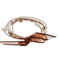 5pc White Cream Pearl Bead Copper Wire Rhinestone Whisper Bracelet Jewelry Set
