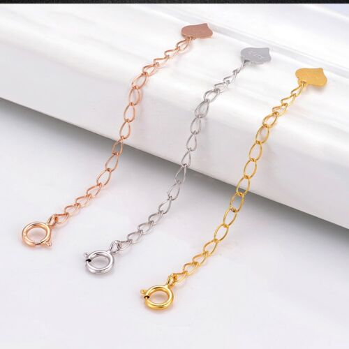 Details about  /1pcs Hot Sale Real 18k Gold Extended Curb Chain For Necklace Or Bracelet 3.5cmL