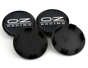 4-x-63mm-OZ-Racing-M595-Schwarz-Grau-ABS-Nabenkappen-Nabendeckel-Satz