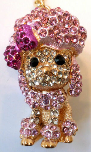 Rhinestone Bling Key Chain Fob Phone Purse Charm Pink Poodle Puppy Dog