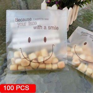 100Pcs-Candy-plastique-Cookie-Sacs-auto-adhesif-Sourire-Visage-Cuisson-Emballage-Parti