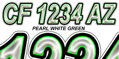 WHITE GREEN Boat Registration Numbers or PWC Decals Stickers Graphics Hull Id 50