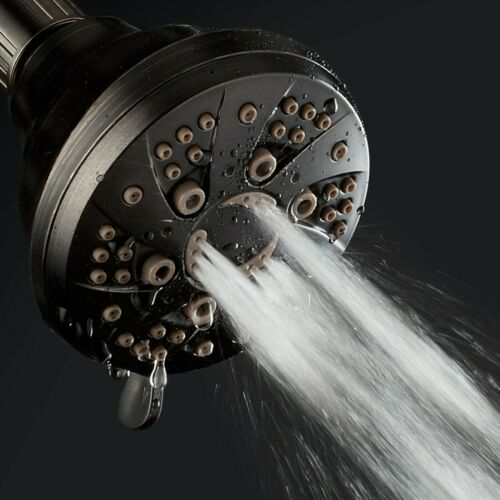 "AquaDance Oil Rubbed Bronze 3.5/"" High-Pressure 6 Setting Spiral Shower Head"