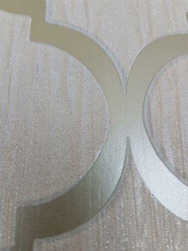 Paillettes Trellis Papier Peint Ivoire Or Métallique éclat Géométrique Debona Crystal