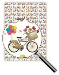 QUIRE-Geschenkpapier-50-x-70cm-Fahrrad-amp-Blumen-Geschenke-Ballons