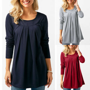 Fashion-Women-Long-Sleeve-Tunic-Tops-O-Neck-Casual-Loose-Pleated-T-Shirt-Blouse