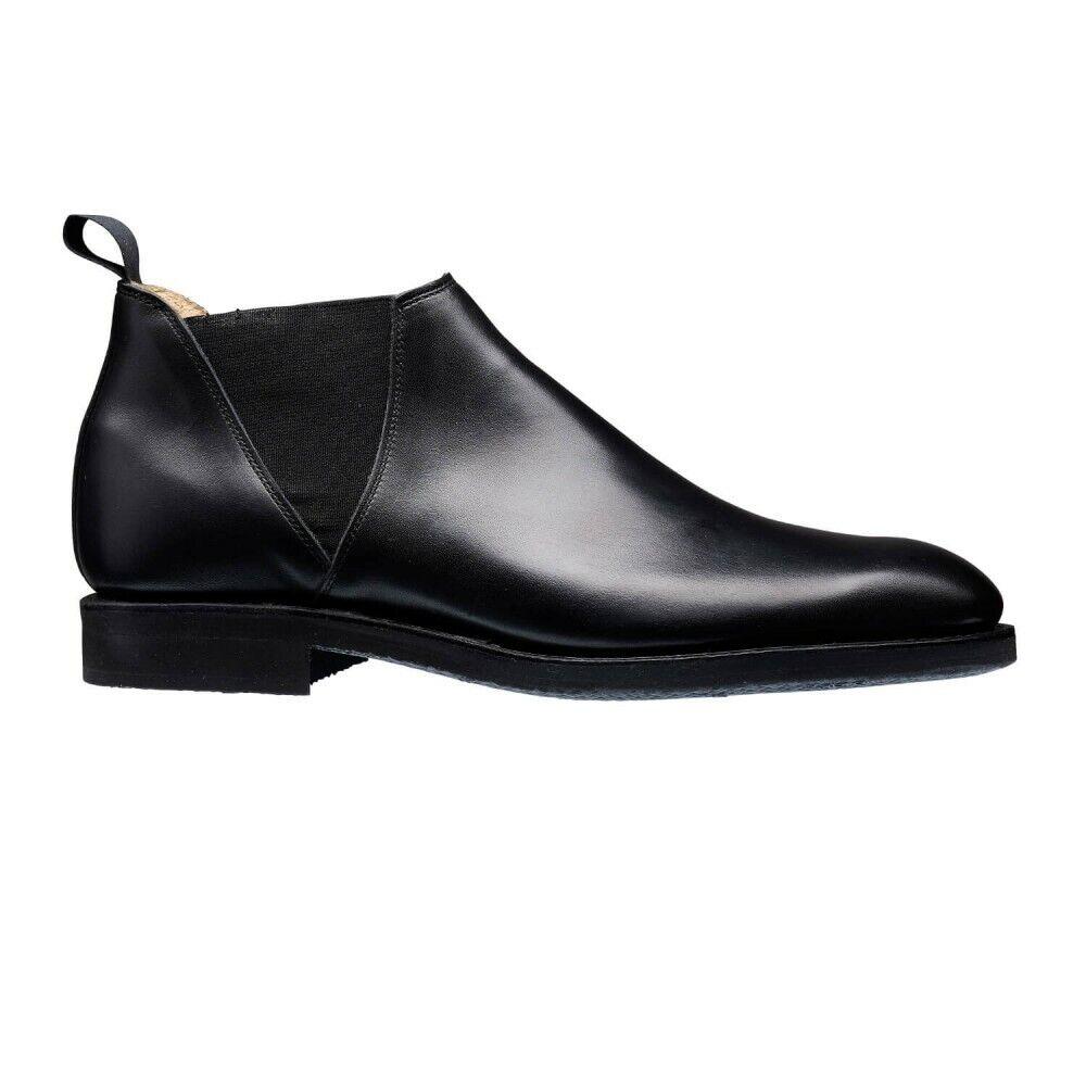 Handgjorda kvinnoäkta svart läderbit En formell Chelsea stövlar