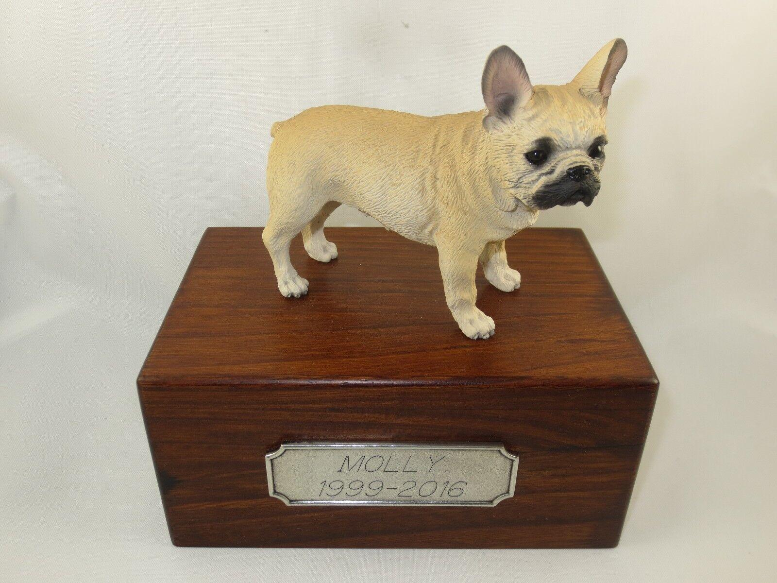 Beautiful Paulownia Small Wooden Personalized Urn Fawn French Bulldog Figurine