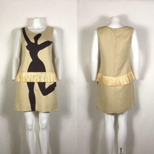 Rare Vtg Moschino Cheap & Chic Dancer Print Raffia