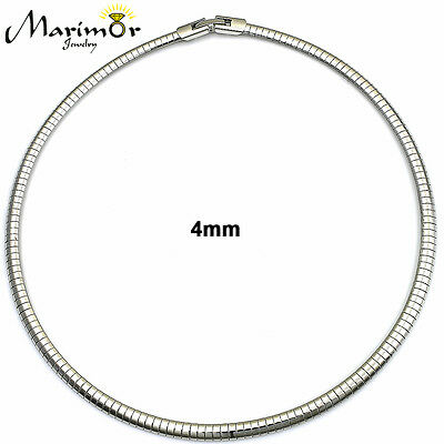 STAINLESS STEEL OMEGA CHAIN NECKLACE CHOKER 16 INCH LONG GOLD OR SILVER 3MM -8MM