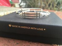 Box & Card Alex And Ani Atlantean Russian Silver Beaded Wrap Bangle Bracelet
