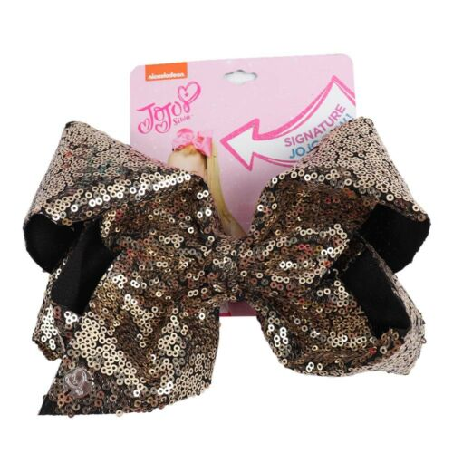"8/"" Large Sequin Hair Bow Hair Clips For Girls Handmade Rainbow Dance Party Bow"