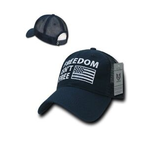 ae89fb60092 Navy Blue Freedom Isn't Free Embroidered USA Flag Cap Hat Military ...