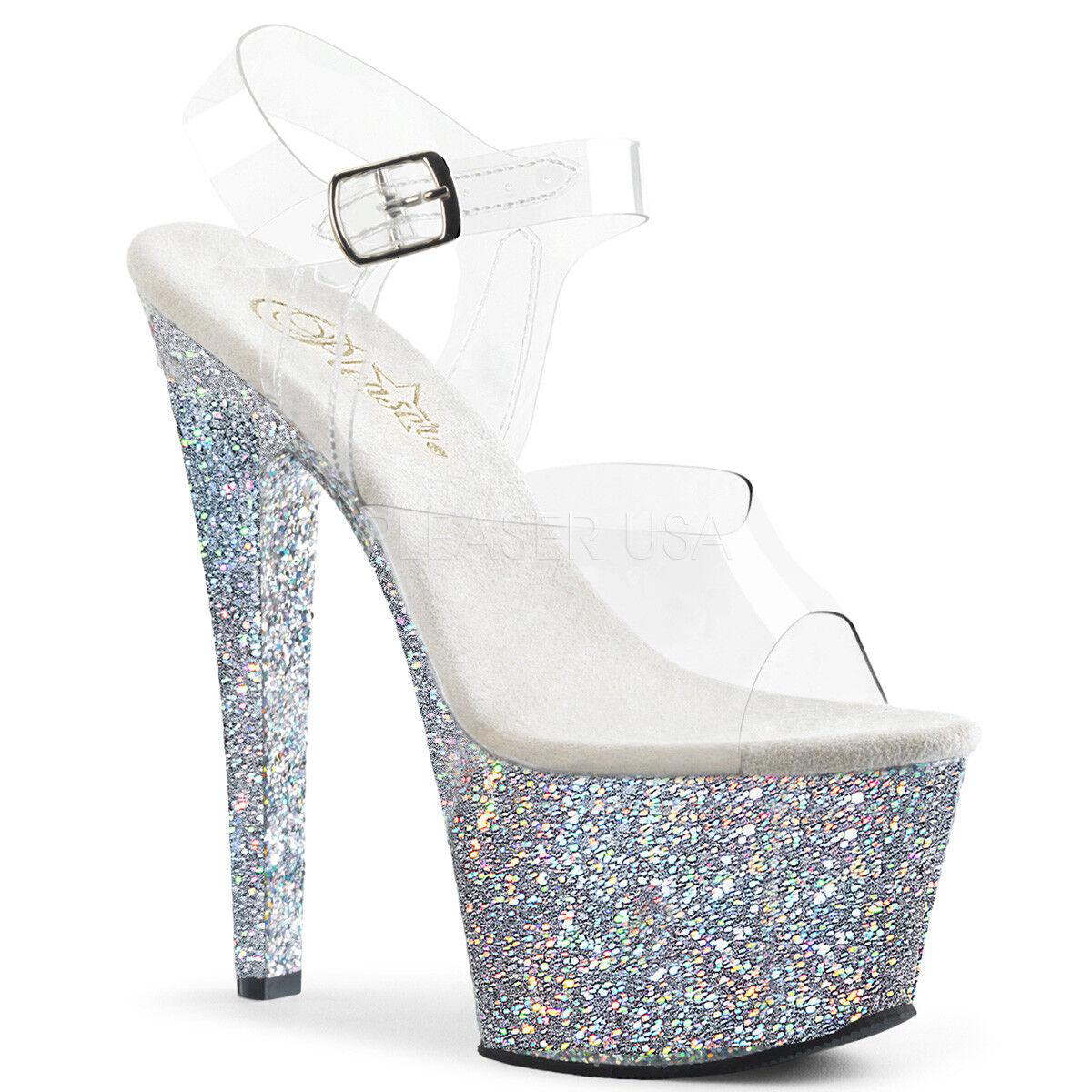 PLEASER Sexy 7  Heel Stripper Silber Glitter Platform Ankle Strap damen schuhe