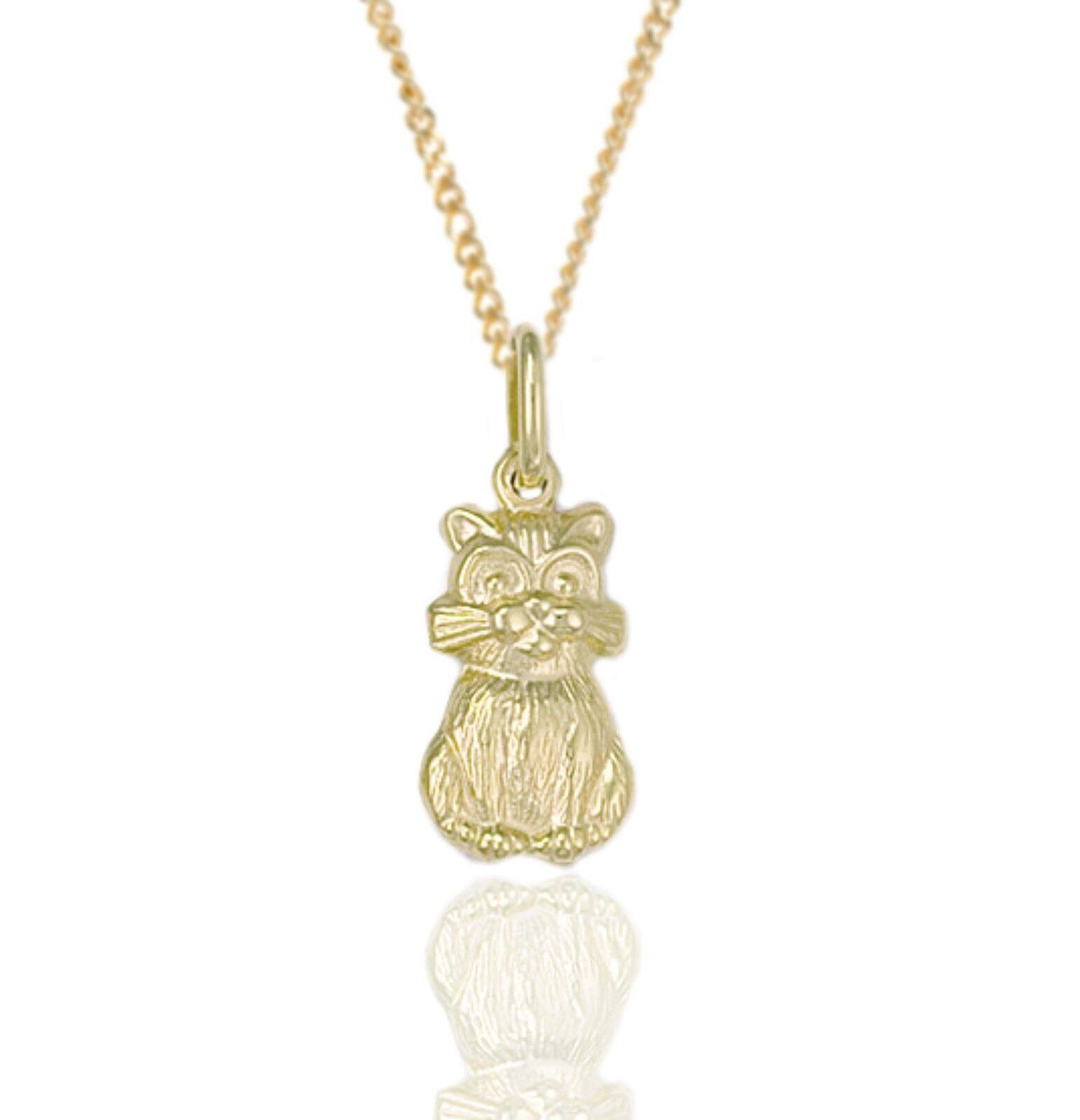 9ct gold Sitting Cat Pendant & 18  9ct gold Chain. Kitten.