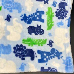 Baby Starters Blue Blanket Elephant Giraffe Lion Hippo Alligator Safari Animals